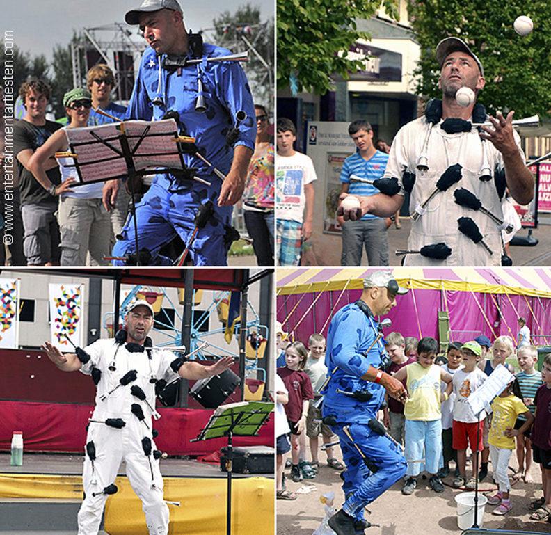 Jongleur-Acrobatiek, een komische en energieke straatvoorstelling die een optreden doet met heel veel toeters, straattheater, Govers Evenementen, www.goversartiesten.nl
