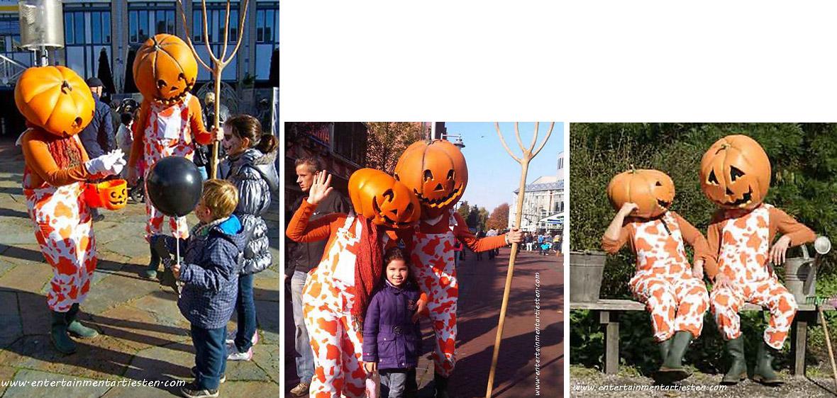 Halloween artiesten, deze pompoenmannetjes zijn ondeugend en behulpzaam, straattheater, acteurs boeken, themafeest, Govers Evenementen, www.goversartiesten.nl