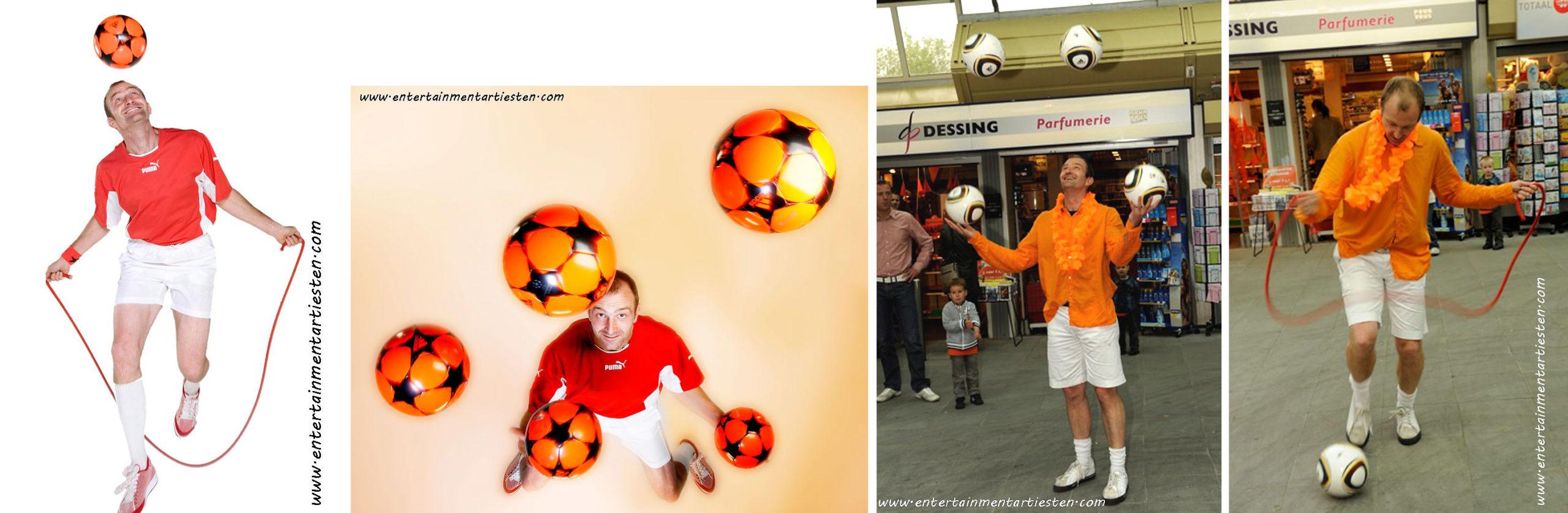 De voetbaljongleur zorgt voor voetbalentertainment tijdens winkelcentrum promotie, straattheater, jongleren met voetbal, voetbal entertainment, artiesten boeken, Govers Evenementen, www.goversartiesten.nl