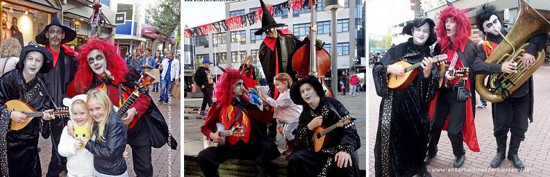 Halloween muzikanten de Spooky's maken lekkere griezelige muziek op straat, muziek boeken, muzikanten, muziektrio, muziekduo, thema muziek, Govers Evenementen, www.goversartiesten.nl