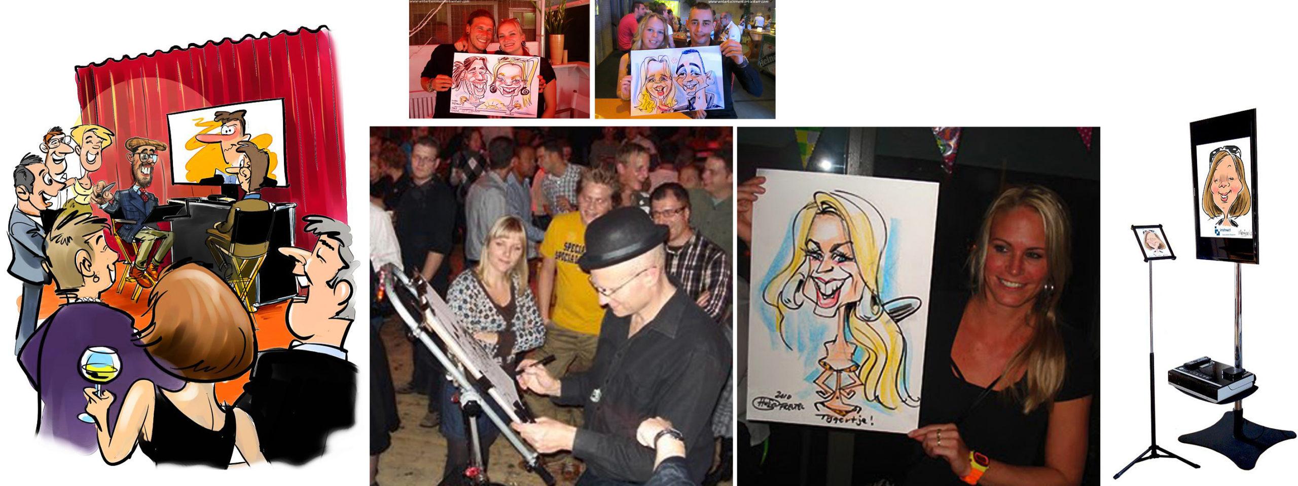 Sneltekenaar- karikaturist, karikatuur portretten, portret, thema feest, evenement organiseren, artiesten boeken, artiestenburo, artietenbureau, beurs- en promotie acts, evenementenbureau, entertainment, tekeningen, portret tekenen, Govers Evenementen, www.goversartiesten.nl