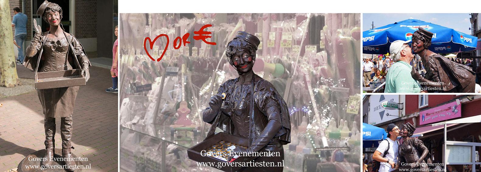 Choco Amuse, straattheater, culinair entertainment, catering act, snoep, chocolade act, zoet, bioscoop act, theateract, culinair straattheater, chocolaatjes uitdelen, zoetigheid, artiesten boeken, themafeest, artiesten voor winkelcentrum, openingsact, Govers Evenementen, Levende beelden, www.goversartiesten.nl