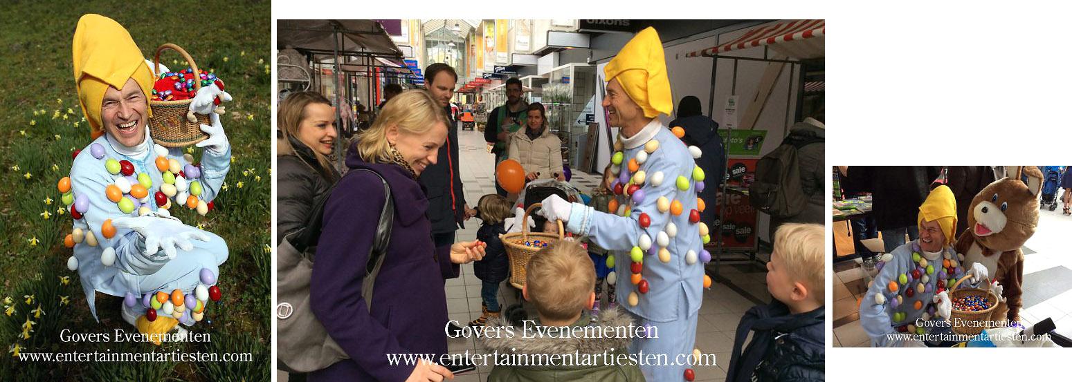 Paas-entertainment, paashaas, eiermannetje, paasei, paaseieren, entertainment voor kinderen, winkelcentrum promotie, artiest, artiesten, pasen, paashaas, Govers Evenementen, www.goversartiesten.nl