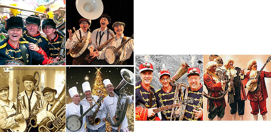 Trio Muziek, een vrolijk en veelzijdig muziekorkestje waar een feestje mag ontstaan, looporkest, straatmuzikanten, trio muziek, muziektrio, jazz, dixielandmuziek, muzikanten huren, Govers Evenementen, www.goversartiesten.nl