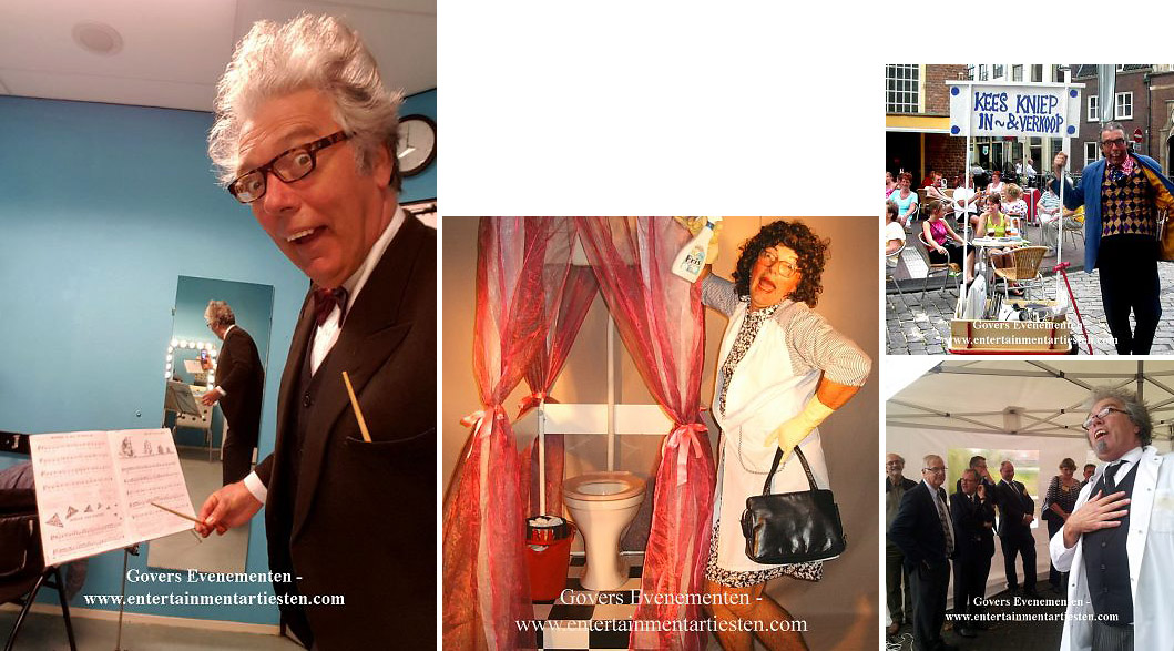 Acteur inhuren, typetjes, humor, komisch duo, artiesten boeken, mimespeler, mime, straattheater, thema entertainment, acteurs, komische types, vrolijk entertainment, artiestenbureau, animatie acteur, animatieact, act, openingsact, gasten verwelkomen, speech houden, actrices inhuren, Govers Evenementen, www.goversartiesten.nl