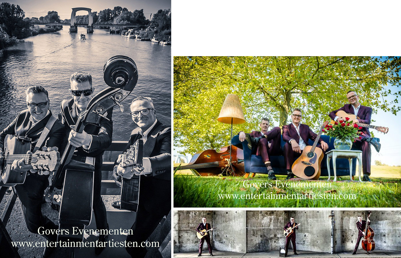 Muzikanten-Bands : The 3-Gents spelen classic hits uit vervlogen jaren. Akoestische/mobiele trio, bandje, muziektrio, artiesten boeken, artiestenbureau, thema feest, muzikanten, band, Govers Evenementen, www.goversartiesten.nl