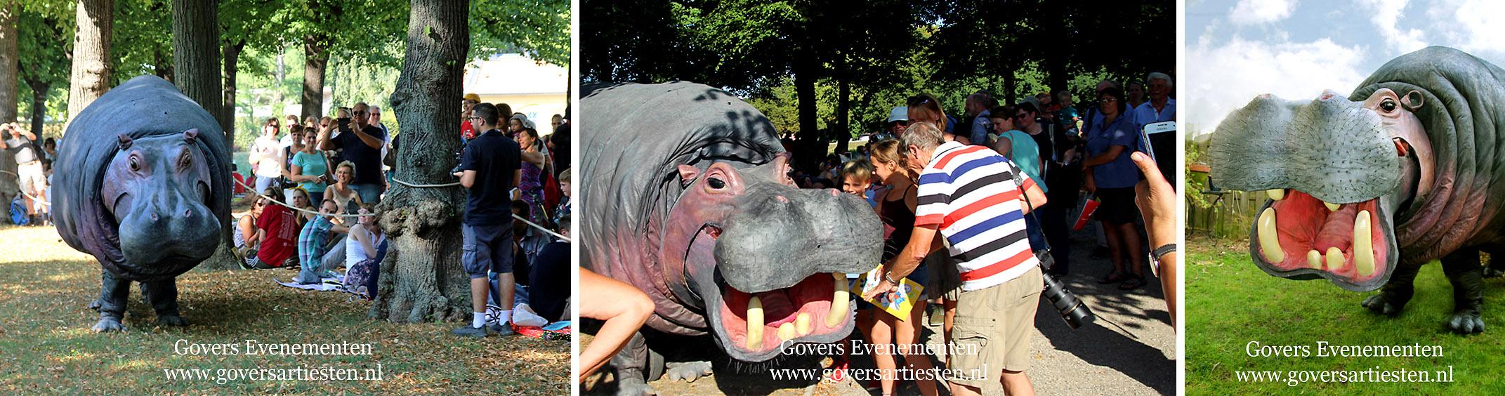 Straattheater, dierentuin, theater met dieren, artiesten boeken, theater voor kinderen, steltenact, dierenvriendelijk, hippo, nijlpaard, themafeest, festival, thema act, Govers Evenementen, www.goversartiesten.nl