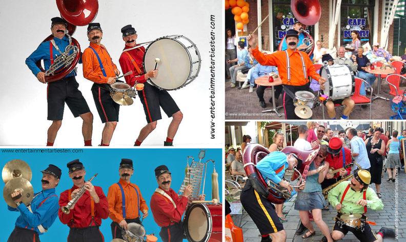 Looporkest, straatmuzikanten maken er een muzikaal feestje van met komisch interactie, fanfare, artiesten boeken, muzikanten huren, Govers Evenementen, www.goversartiesten.nl