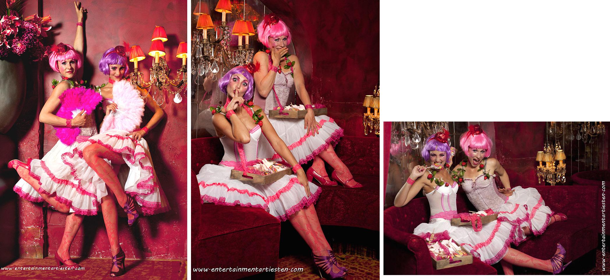 De actrices van de Zoete Inval, het uitdelen van humor, snoepjes, hapjes, fraai gekostumeerd Culinair Entertainment c.q. Catering act, horeca act, Beurs & Promotie acts, Govers Evenementen, www.goversartiesten.nl