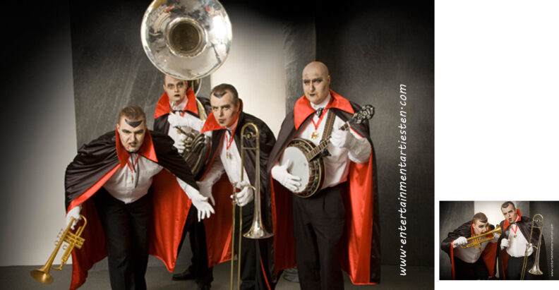 Het Vampier looporkest , Halloween muzikanten spelen Halloween muziek op straat, straattheater, themafeest, Govers Evenementen, www.goversartiesten.nl