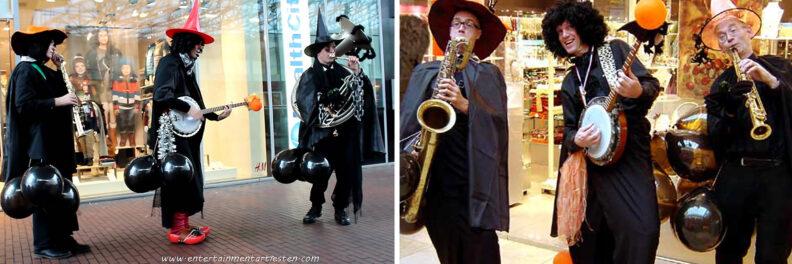 Trio Griezel, Halloween muzikanten spelen als looporkest op straat of in winkelcentrum, muziektrio, Govers Evenementen, www.goversartiesten.nl