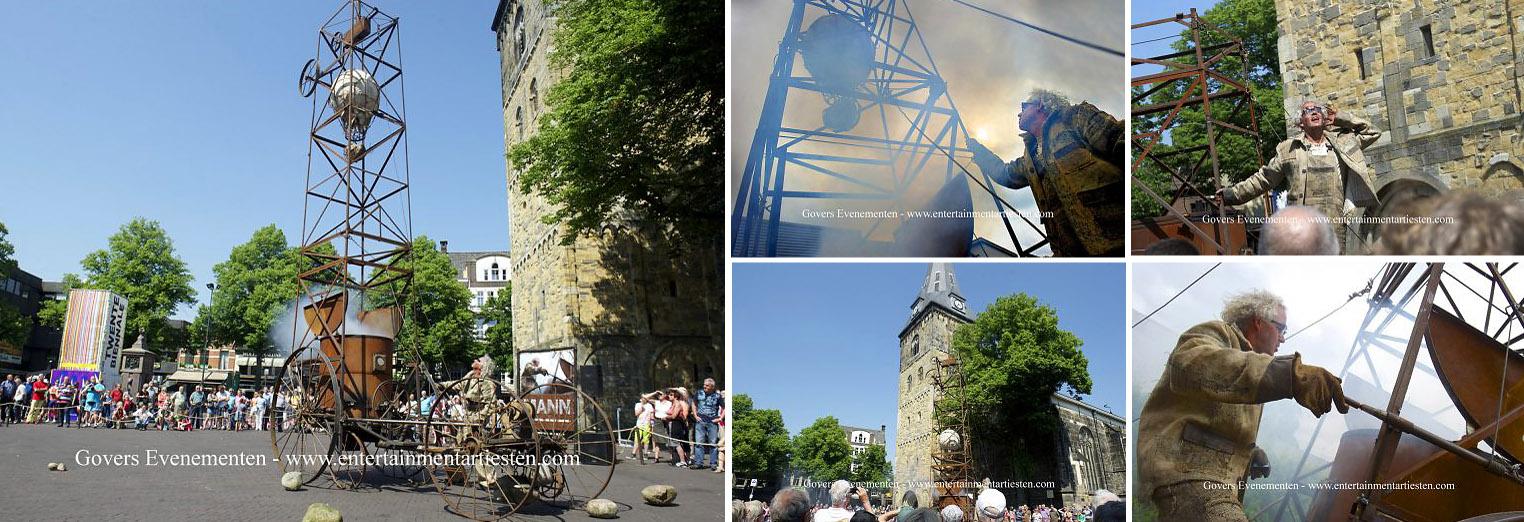 Straattheater Een man van Staal, voorstelling, artiesten boeken, artiestenbureau, straatact, Govers Evenementen, www.goversartiesten.nl