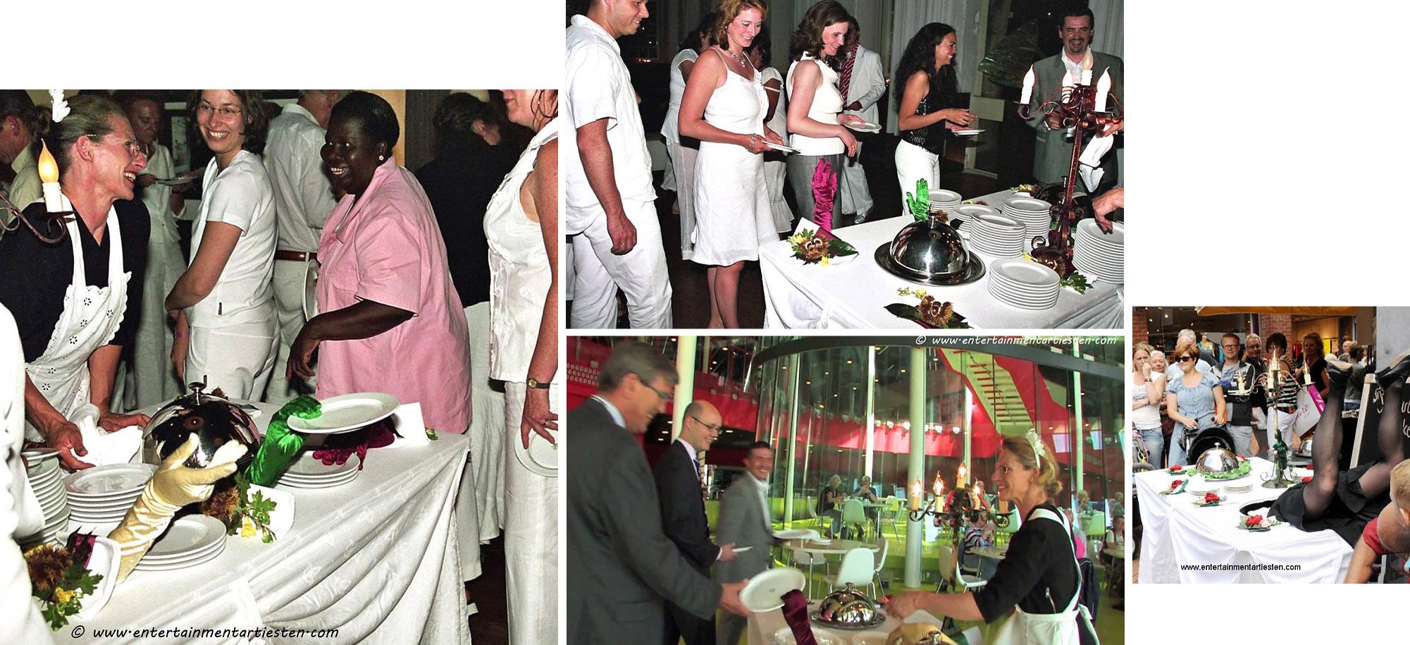 De Catering tafel leeft! Een catering act met veel humor en reuring... culinaire act, horeca act, Beurs & Promotie acts, artiesten boeken, artiestenbureau, culinair theater, Govers Evenementen, www.goversartiesten.nl