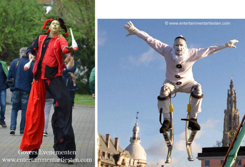 Steltenloper Clown Pierrot, een veelzijdige acrobaat-jongleur-entertainer , straattheater, steltenact, steltenloper, steltentheater, Govers Evenementen, www.goversartiesten.nl