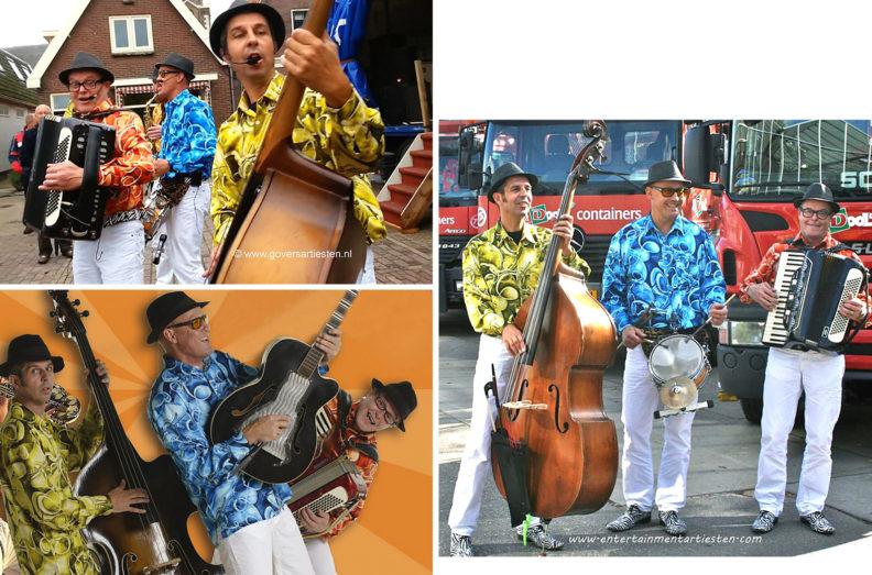 Powermuzikanten, akoestische straatmuzikanten maken er een muzikaal feestje van met komische interactie, muziektrio, muziek boeken, muzikanten huren, Govers Evenementen, www.goversartiesten.nl