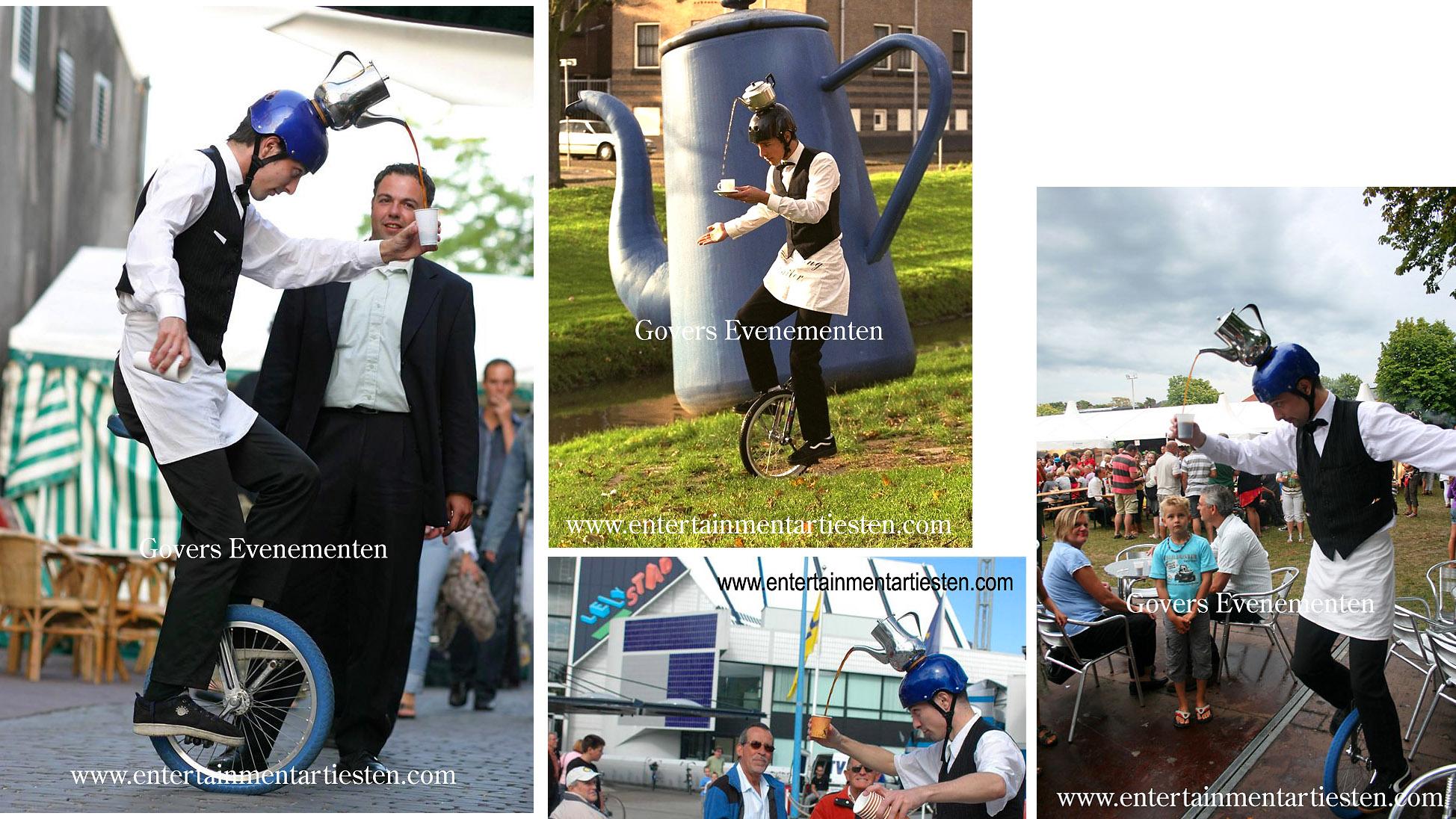 Op zijn éénwieler serveert de ober een kopje koffie, Culinair Entertainment & Cateringacts, horeca acts, horeca artiesten, artiestenbureau, artiesten boeken, themafeest, beurs & promotie acts, Govers Evenementen, www.goversartiesten.nl
