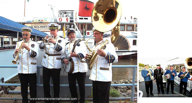 Looporkest - straatmuzikanten, 't Admiraals looporkest maakt er een maritieme feestdag van ! Govers Evenementen, www.goversartiesten.nl