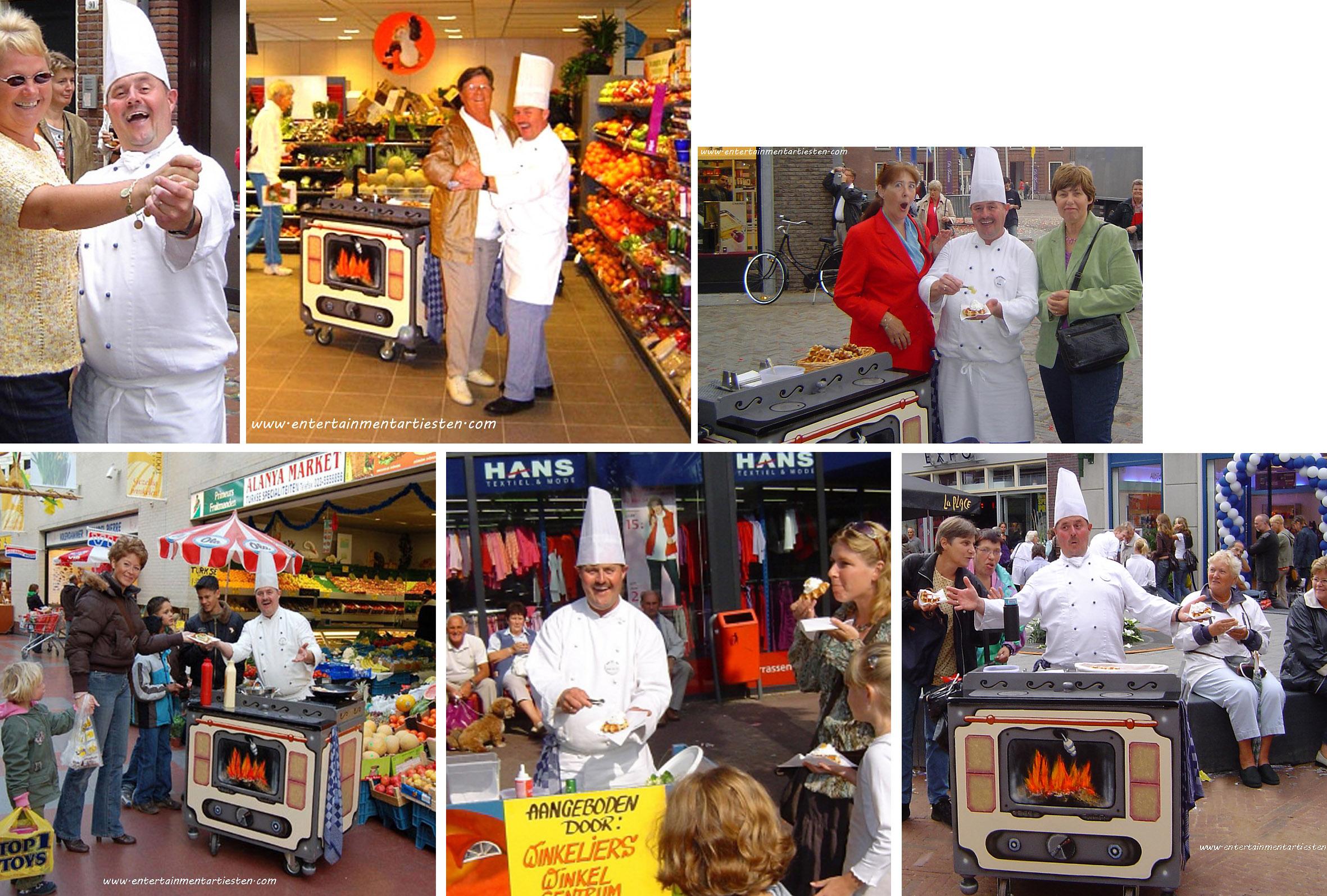 Voor een dansje verstrekt deze kok een heerlijke slagroomwafel, Culinair Entertainment & Cateringacts, horeca acts, horeca entertainment, theater, straattheater, themafeest, artiestenbureau, artiesten boeken, beurs en promotie acts, culinaire act, Govers Evenementen, www.goversartiesten.nl