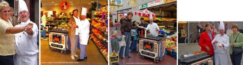 De Bourgondische kok deelt wafels met slagroom uit tijdens activiteiten winkelcentrum promotie, culinair entertainment, catering acts, thema entertainment, Govers Evenementen