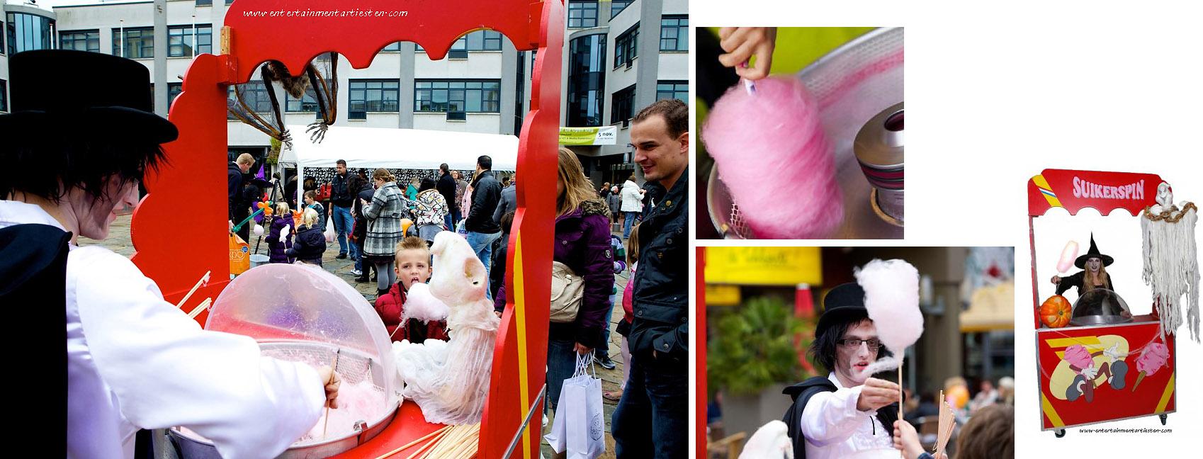 Spinnenrag uitdelen (suikerspinnen) een kinderact uitgevoerd door Halloween artiesten, themafeest Halloween, Govers Evenementen, www.goversartiesten.nl