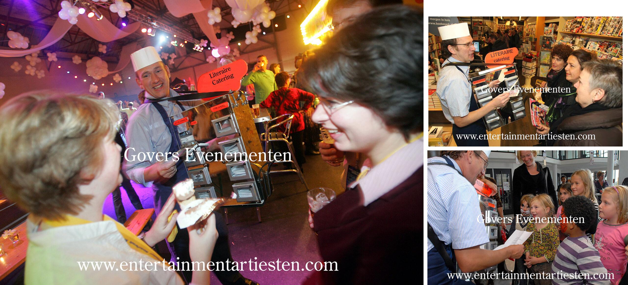 Catering literair, Een literair gedicht voorgedragen voor consument vanuit een mobiele snackbar, Categorie Straattheater - straatartiesten, Govers Evenementen, www.goversartiesten.nl