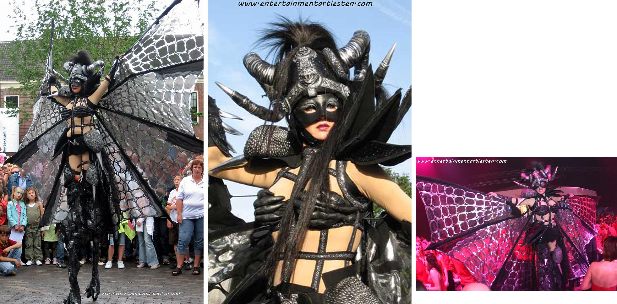 Halloween artiesten: De Vleermuis Black Barbarella is een sensationele stelten-act, straattheater, thema artiesten, steltenlopers, steltentheater, steltenact, Govers Evenementen