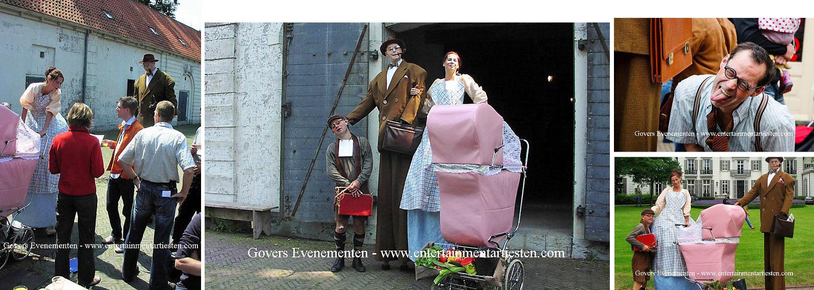 Straattheater, Steltenact, steltenlopers, Terug in de tijd, straatartiesten, themafeest, artiesten boeken, artiestenbureau, artiestenburo, themafeest, jaren 30,, jaren 50, Govers Evenementen, www.goversartiesten.nl