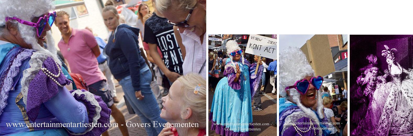 Rococo Marie Antoinette met haar kont act, artiest, humor en theater, artiesten boeken, straattheater, acteur inhuren, Govers Evenementen, www.goversartiesten.nl