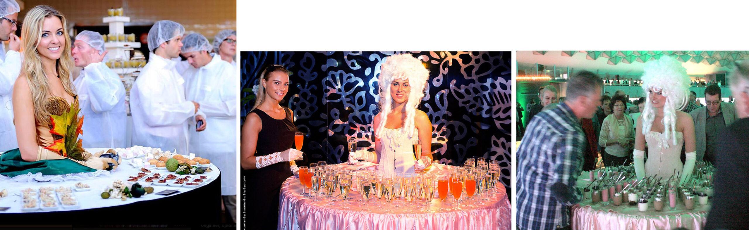 Culinair entertainment om drankjes tijdens het huwelijksfeest aan gasten te serveren, themafeest, evenement organiseren, artiesten boeken, artiestenbureau, culinair entertainment, horeca acts, culinaire acts, catering acts, ontvangst act, beurs & promotie acts, Govers Evenementen, www.goversartiesten.nl