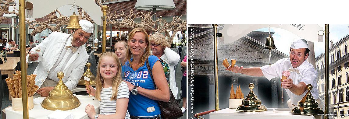 De Zingende IJscoman, Italiaanse charme, culinair entertainment, catering acts, ontvangst acts, beurs & promotie acts, horeca acts, artiestenbureau, artiesten boeken, thema feest, festival artiesten, ijs, ijsjes, zomer, Govers Evenementen, www.goversartiesten.nl