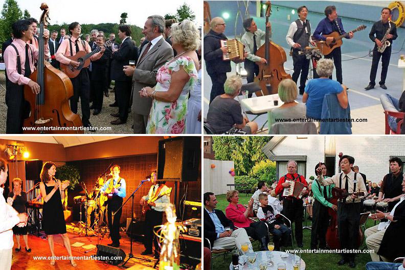The Rilliato's, een elektrisch versterkte feest-band met een akoestische loop-act. Spelen op een chique diner-dansant maar ook op een bedrijfsfeest, op een bruiloft en op een swing- feest, Govers Evenementen, www.goversartiesten.nl