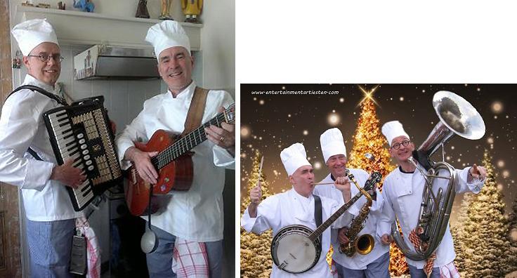 Drie Muzikale chefs brengen een feestelijk Menu. Muziektrio, bandje, catering acts, culinaire acts, thema feest, artiesten boeken, artiestenbureau, culinair entertainment, beurs & promotie acts, kok, chef, muzikanten, Govers Evenementen, www.goversartiesten.nl