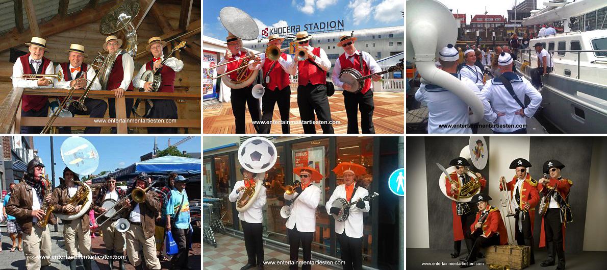 Looporkest - straatmuzikanten. De muzikanten van Dixie hebben een heel breed muziekrepertoire, muziekgroep, muzikanten inhuren, muziek boeken, Govers Evenementen, www.goversartiesten.nl