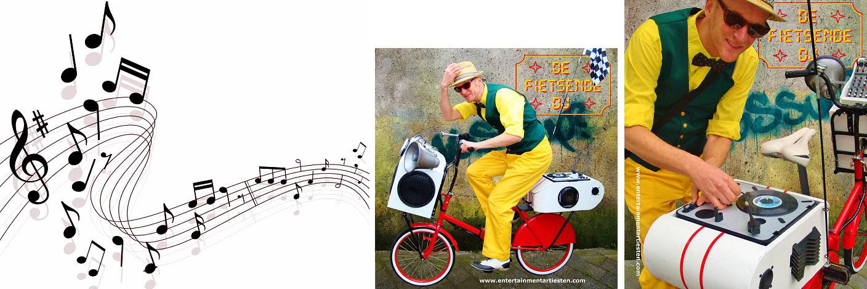 Winkelcentrum promotie activiteiten, de fietsende DeeJay behoort tot een geweldige muziekale act op straat, muziek op straat, muzikanten, themafeest, Govers Evenementen, www.goversartiesten.nl