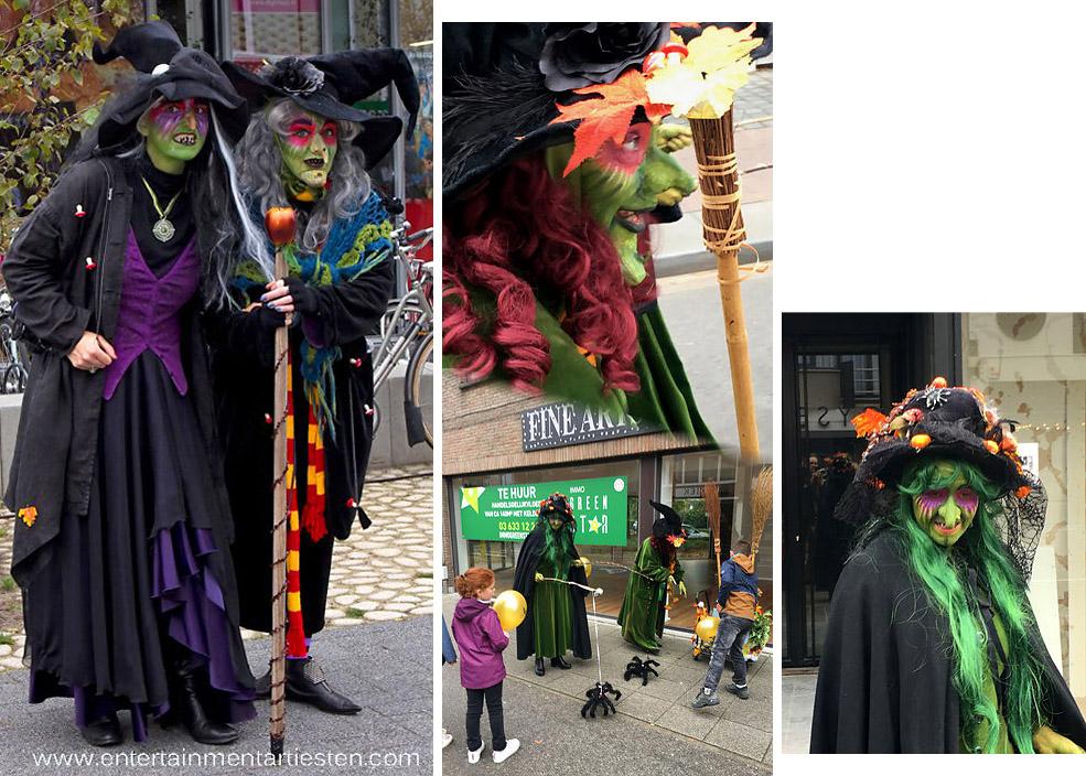Halloween artiesten & muzikanten, de heksen dansen en zingen op straat, straattheater, thema Halloween, artiesten boeken, Govers Evenementen, www.goversartiesten.nl