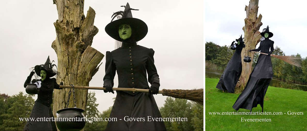 Halloween steltenact, steltenlopers, Halloween-act artiesten, steltentheater, artiesten boeken, stelten entertainment, Govers Evenementen, www.goversartiesten.nl