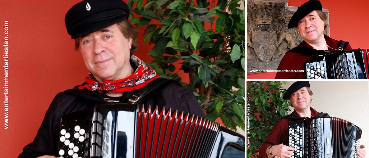 Deze Russische muzikant treedt ook op uw een diner, receptie en ontvangst waarbij hij een breed repertoire met passie en emotie brengt, muzikant inhuren, muzikanten boeken, accordeonist, Govers Evenementen, www.goversartiesten.nl