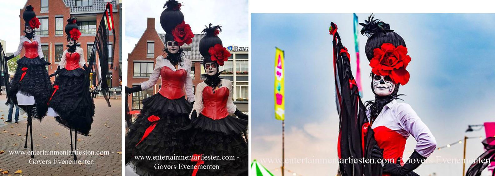 Halloween steltenact, steltenlopers, steltentheater, steltenloopster, act op stelten, straatheater, thema Halloween-act artiesten Govers Evenementen, www.goversartiesten.nl