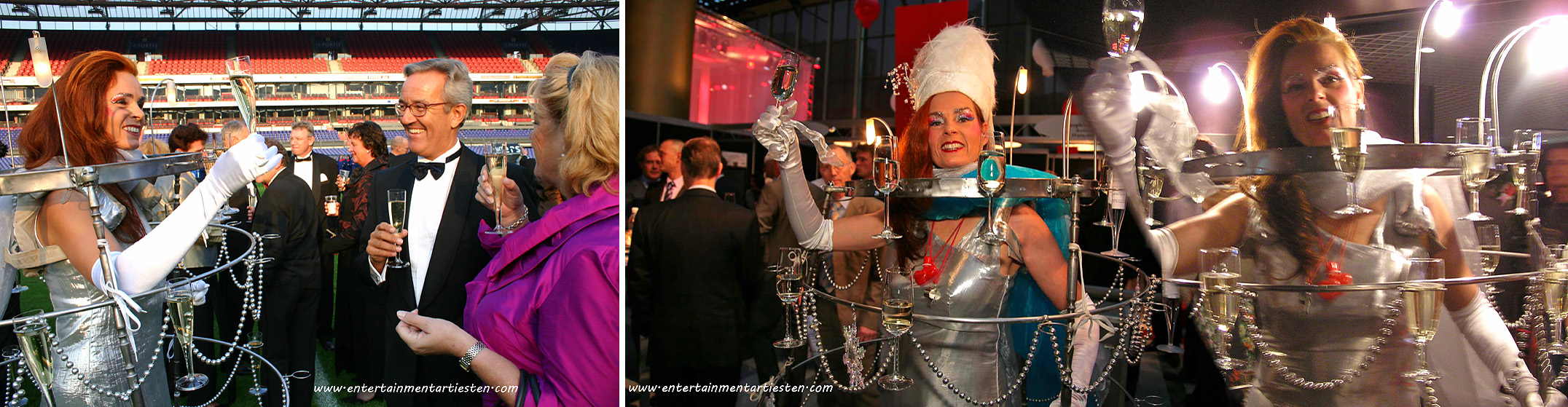 De Champagnejurk is fraai Culinair Entertainment , Vanuit haar stalen jurk serveert zij de glazen met drank . Cateringact, horeca acts, beurs & promotie acts, ontvangst act, culinair entertainment, champagne act, thema feest, evenement organiseren, artiesten boeken, artiestenbureau, Govers Evenementen, www.goversartiesten.nl