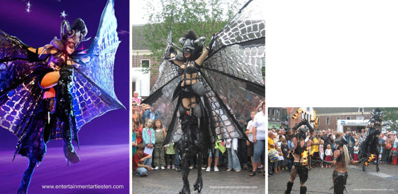 Steltenloper Steltentheater, Black Barbarella is stoer! steltenact, Govers Evenementen, www.goversartiesten.nl
