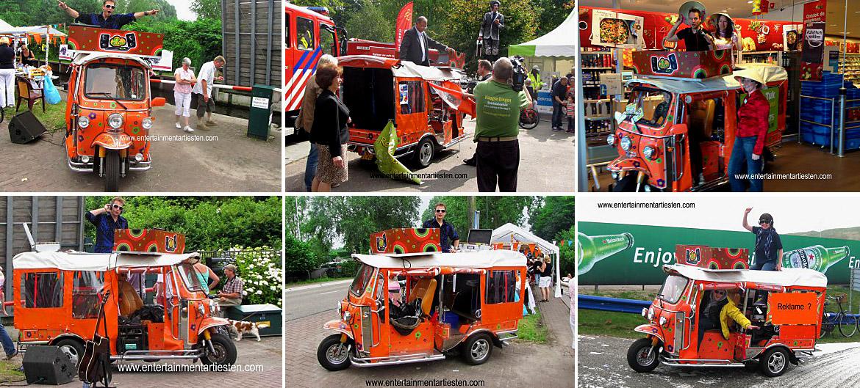 DJ & CAR kan rijdend en op een vaste plek gebruikt worden op binnen- en buiten in winkelcentra, . Winkelcentrum promotie activiteiten, muziek op straat, tuktuk muziek, muzikanten huren, Govers Evenementen, www.goversartiesten.nl