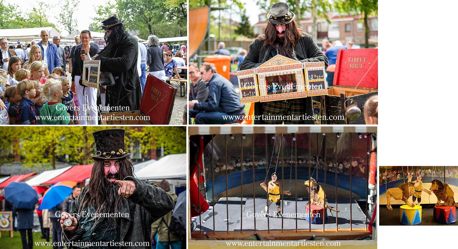 artiesten boeken, circus, poppentheater, straattheater, straatact, animatie acts, Circus mini, kindervoorstelling, Govers Evenementen, www.goversartiesten.nl