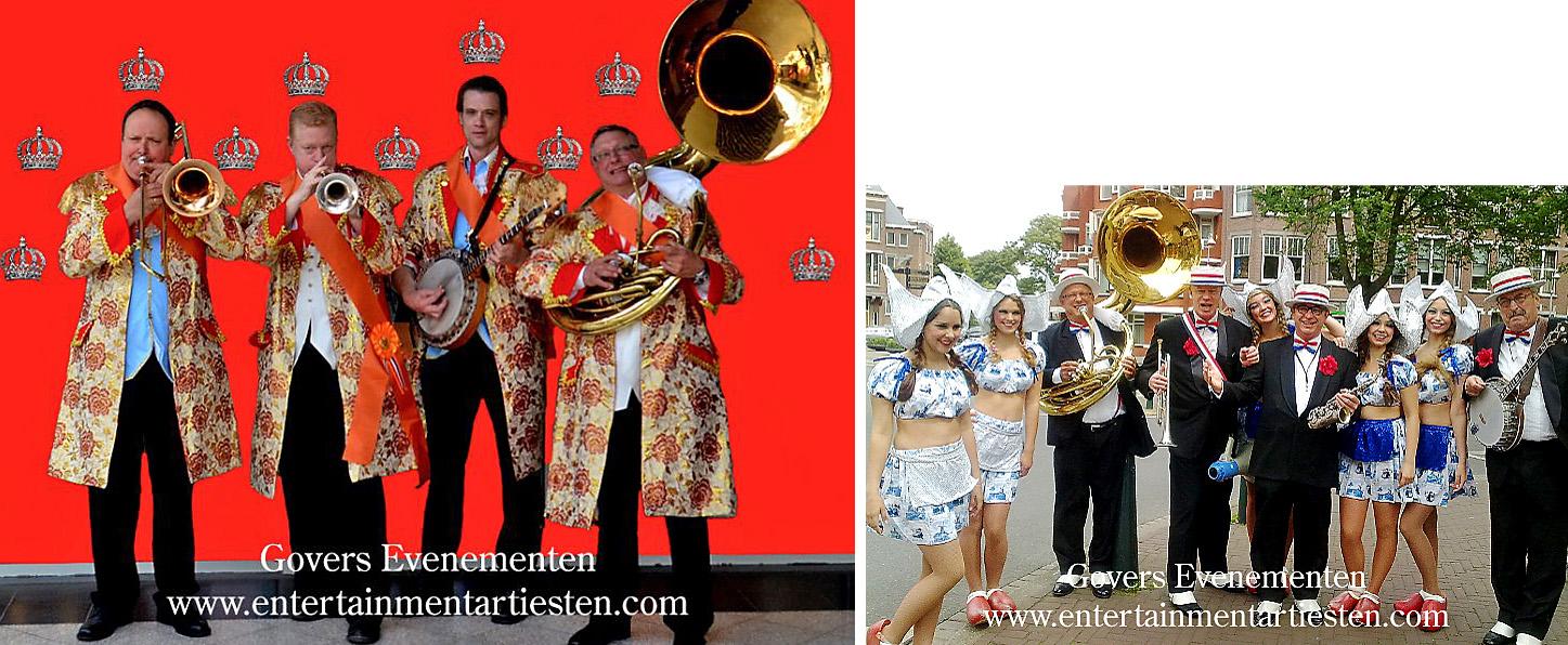Looporkest - straatmuzikanten, Dixielandband 't Looporkest speelt al 25 jaar op straten en pleinen in Nederland, artiesten boeken, muzikanten, bandje, muziek, thema feest, Govers Evenementen, Koningsdag muzikanten, Oranjedag muziek, Govers Evenementen, www.goversartiesten.nl