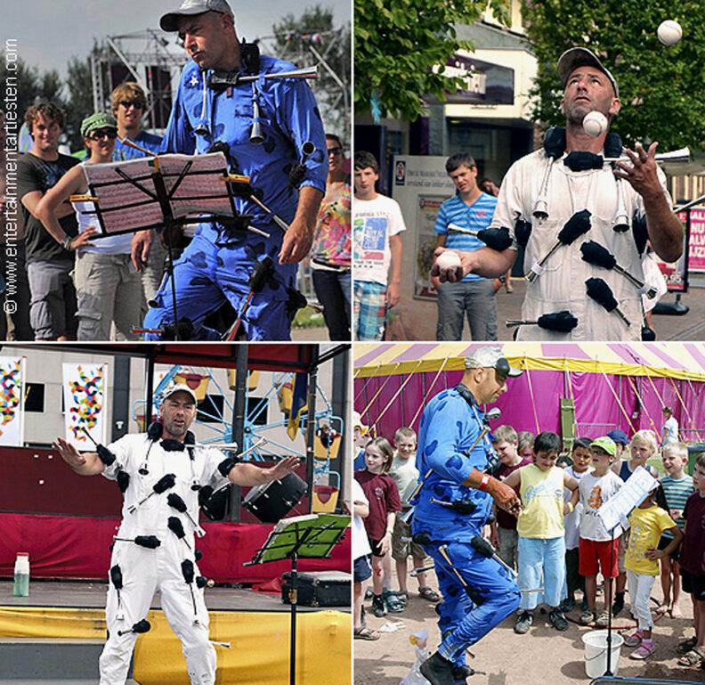 Jongleur-Acrobatiek, een komische straatvoorstelling die een optreden doet met toeters, muzikant, straattheater, artiesten boeken, straatartiest inhuren, Govers Evenementen, www.goversartiesten.nl