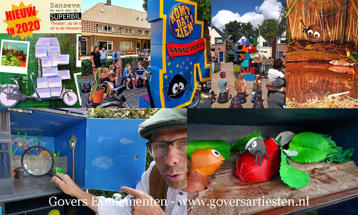 De Spin met de Zeven Poten en Superbillen, kindertheater, straattheater, straattheater boeken, kindervoorstelling, Govers Evenementen, www.goversartiesten.nl