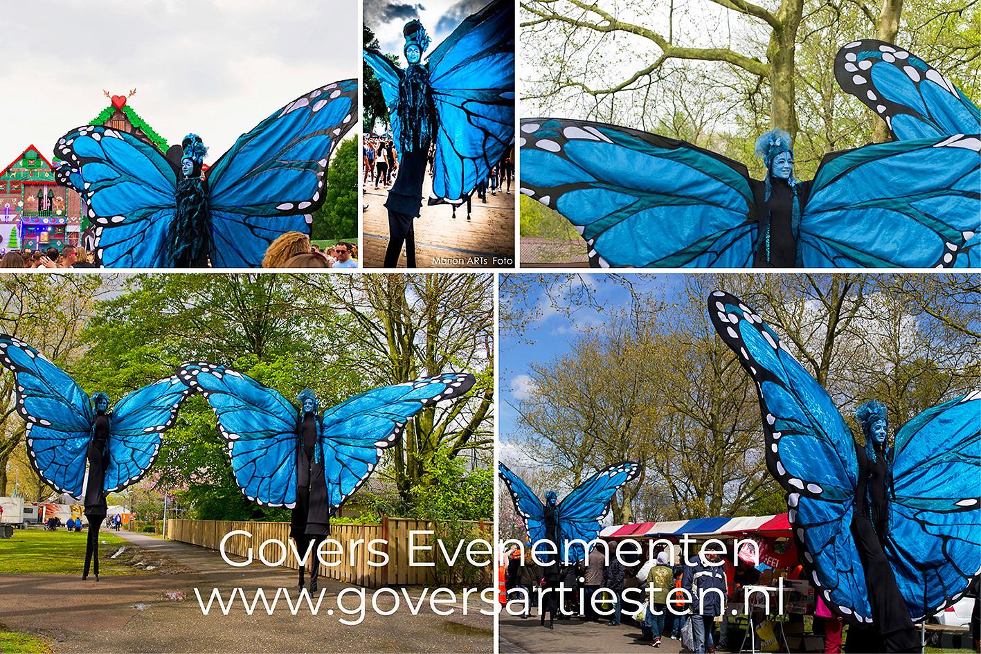 Steltenact, steltenloper, steltentheater, vlinders op stelten, steltenloop act, artiesten boeken, straattheater, straatfeest, Govers Evenementen, www.goversartiesten.nl