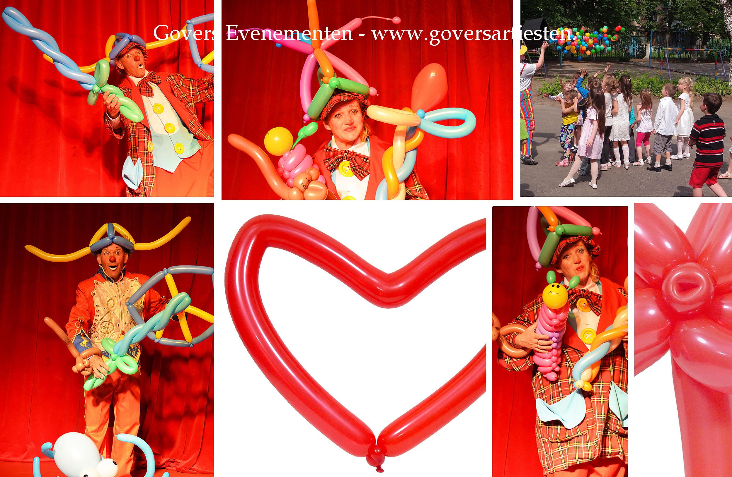 Ballonnenclown, clown, kindervoorstelling, straattheater, artiesten boeken, artiestenbureau, clowns, ballonnen vouwen, ballonnen vouwer, ballon, kindertheater, Govers Evenementen, www.goversartiesten.nl